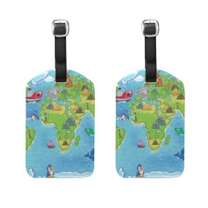This is an image of map themed pattern luggage tags for traveling