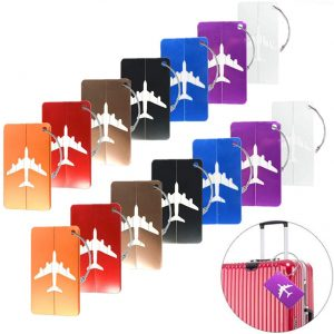 This is an image of multi-color luggage tags for traveling.