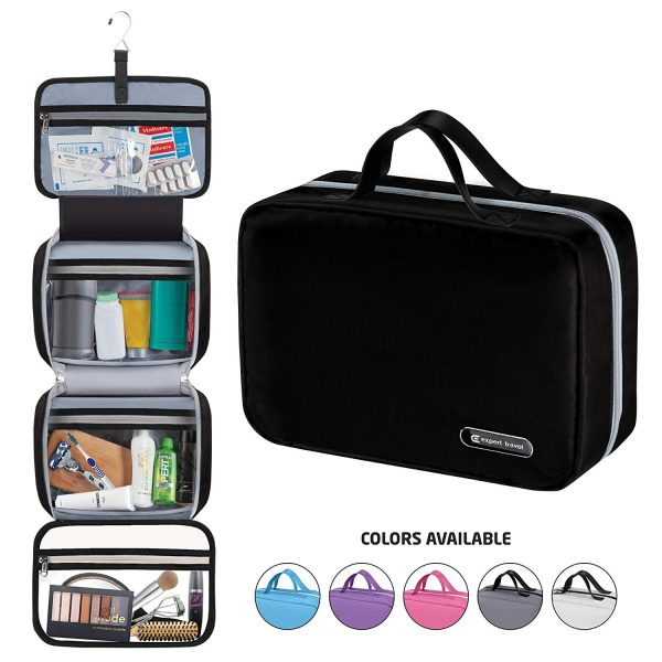 This is and image of a hanging travel toiletry bag for men and women.
